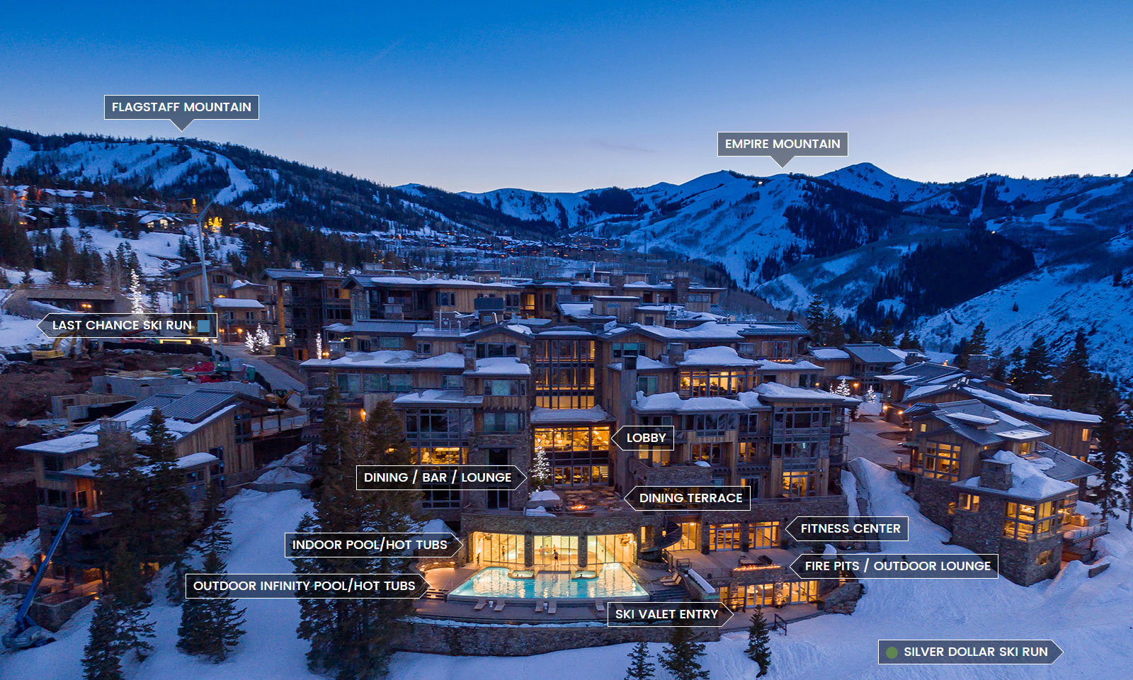 Exterior view and map of Stein Eriksen Residences Ski in Ski Out accommodations in Deer Valley Utah