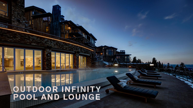 Deer Valley vacation rentals outdoor infinity pool and lounge overlooking Deer Valley resort