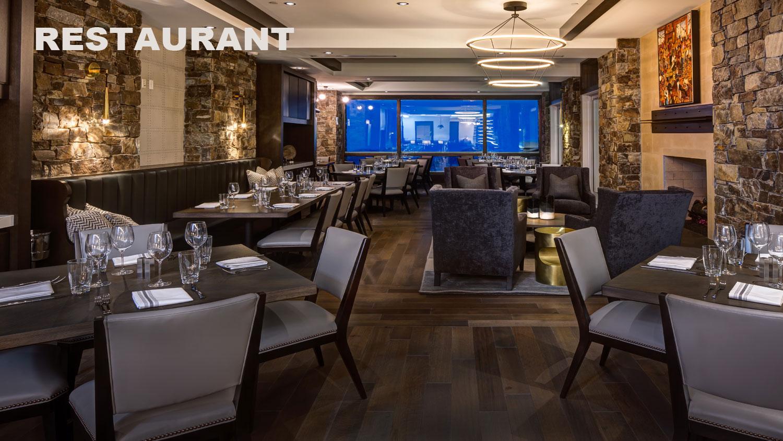 Restaurant dining room at Stein Eriksen Residences luxury Deer Valley vacation rentals