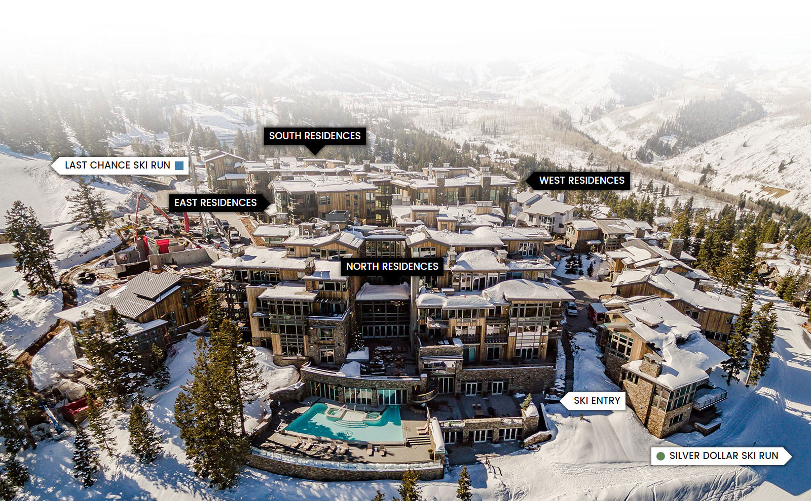 Exterior view and map of Deer Valley ski in ski out rentals at Stein Eriksen Residences