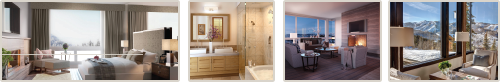 Horizontal collage image of Park City luxury rental accommodations, spacious bathroom, living area and incredible views of Deer Valley