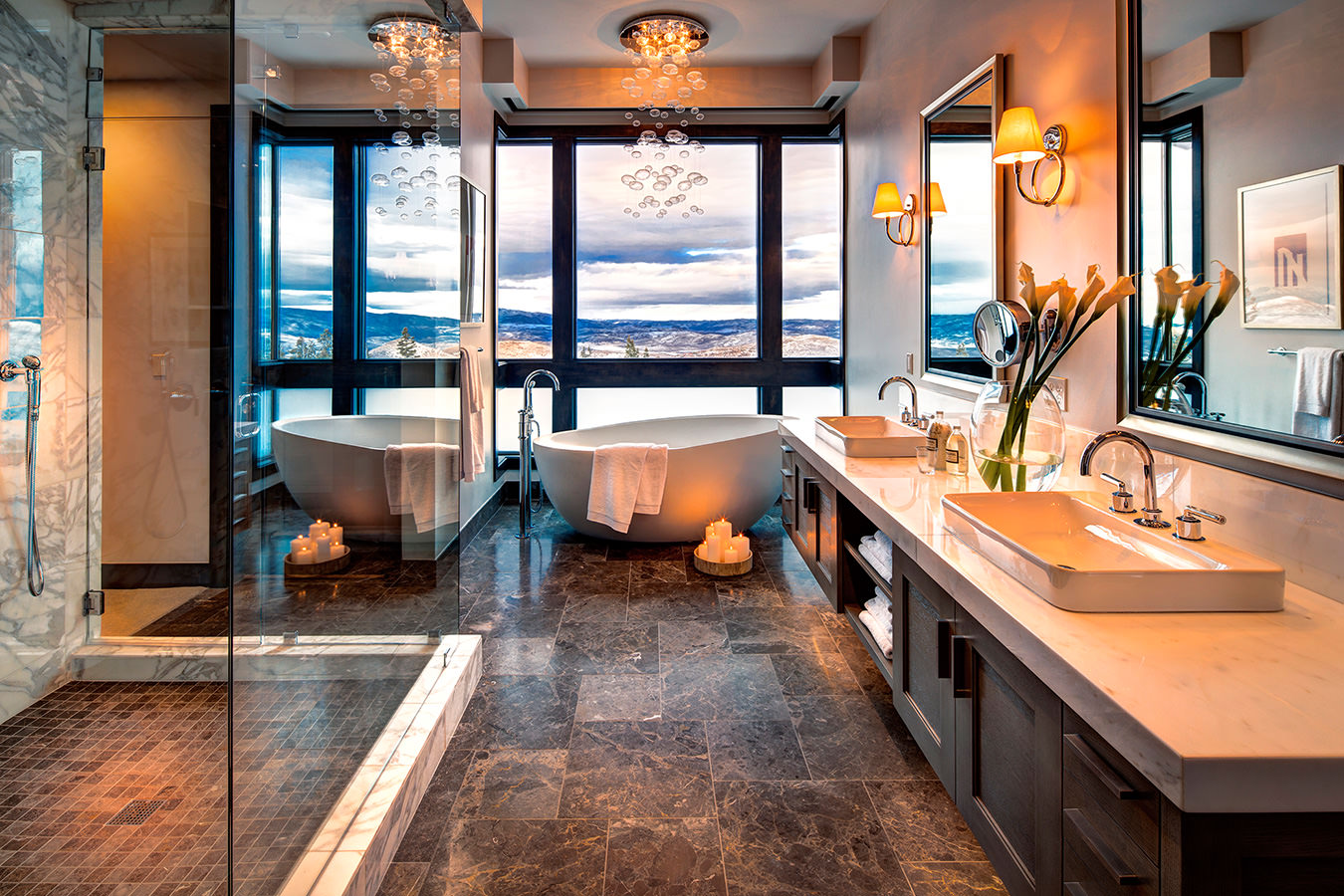 Luxury Park City vacation rental bathroom with spacious shower, tub and incredible views of Deer Valley resort