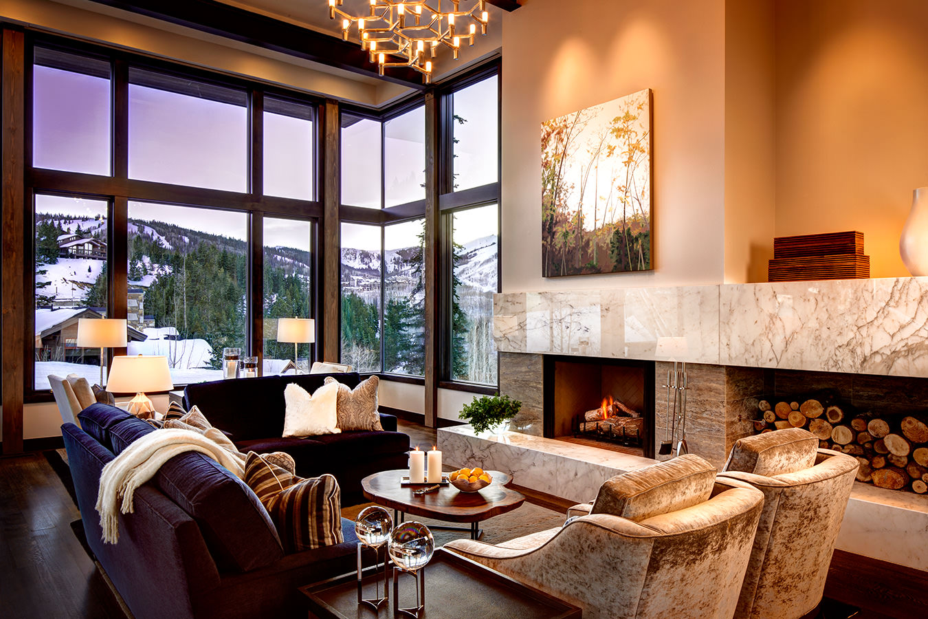 Luxurious, spacious living room at ski in ski out Park City rental with views of Deer Valley Resort - Stein Eriksen Residences