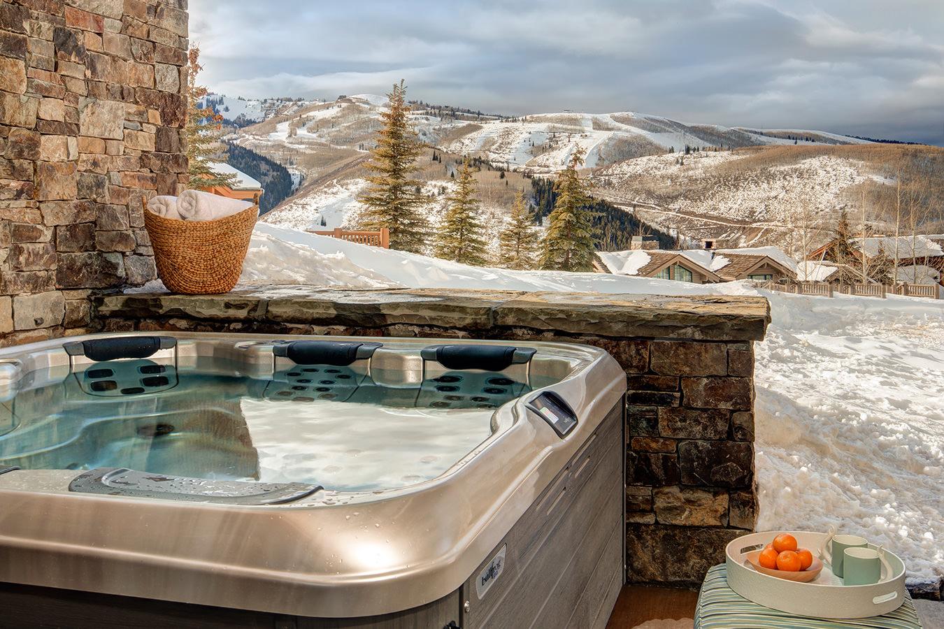 Luxury Deer Valley ski in ski out vacation rental hot tub overlooking ski run