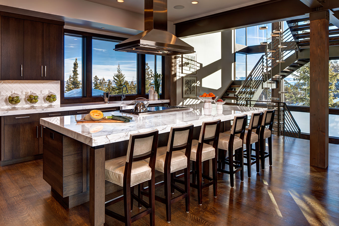 Spacious kitchen at our luxury Deer Valley vacation rental with high end finishes and appliances and views of Deer Valley