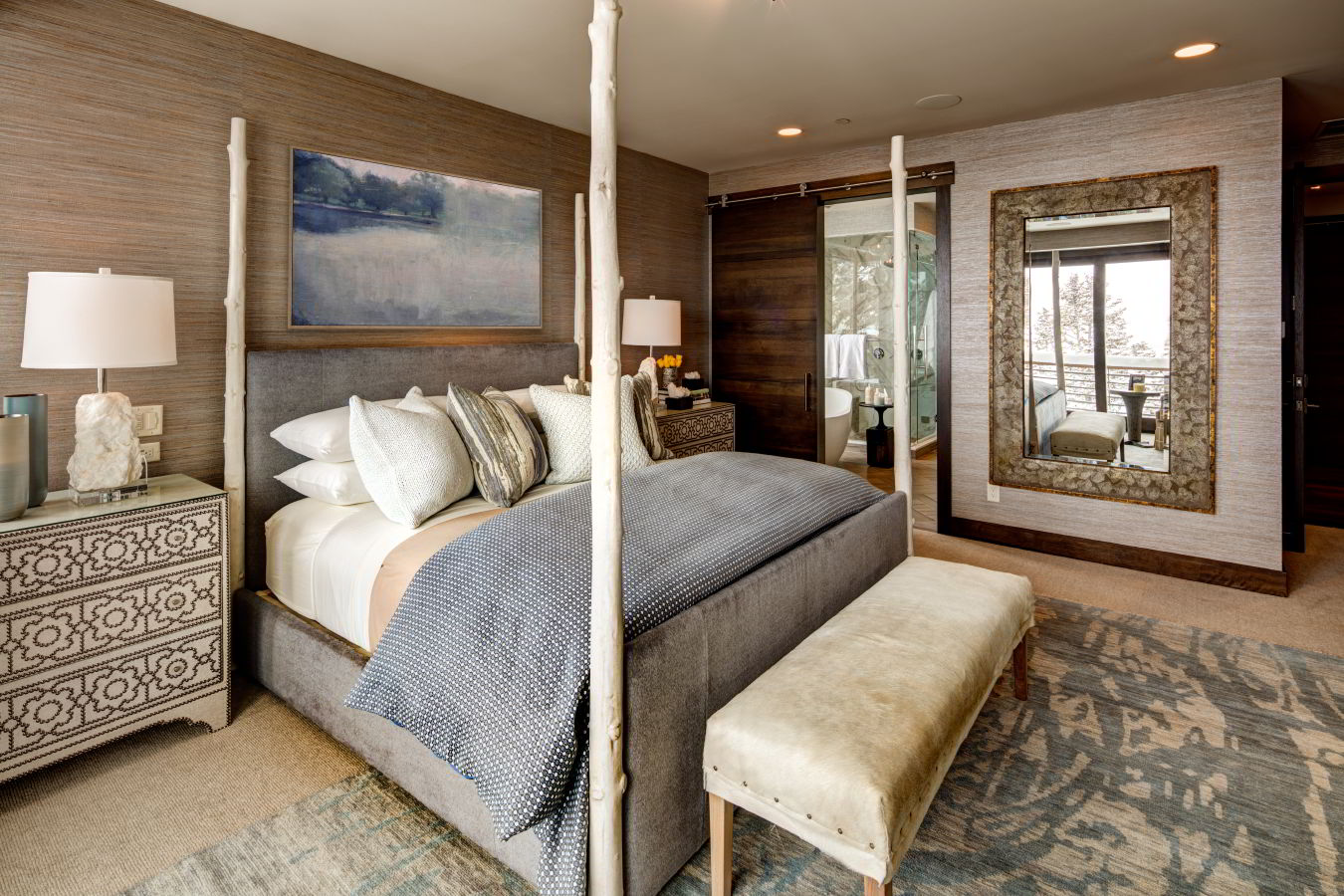 Luxury mountain contemporary guestroom at Stein Eriksen Residences' park city vacation rentals