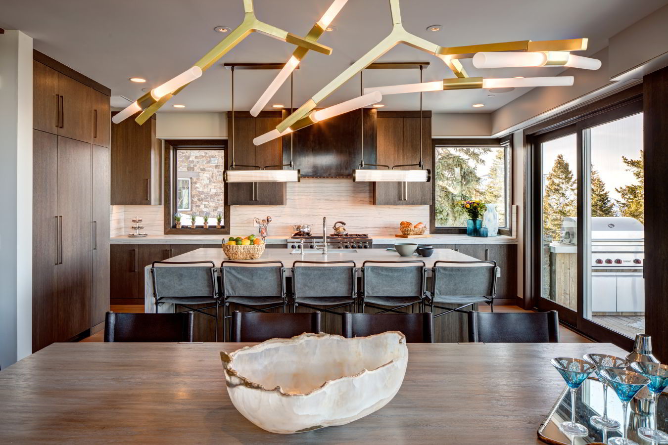 Modern, high end kitchen and dining area at luxury Deer Valley vacation rentals, Stein Eriksen Residences