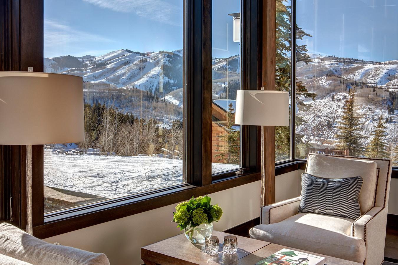 Luxury Park City rental reading nook overlooking ski runs at Deer Valley Resort