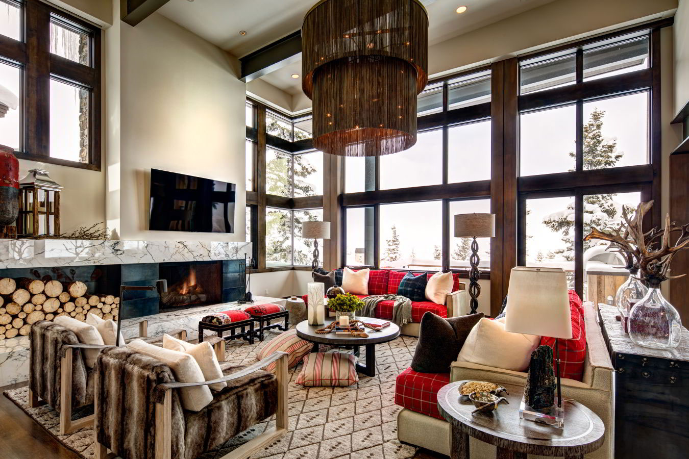 Spacious, mountain contemporary living room at Deer Valley luxury rental, Stein Eriksen Residences