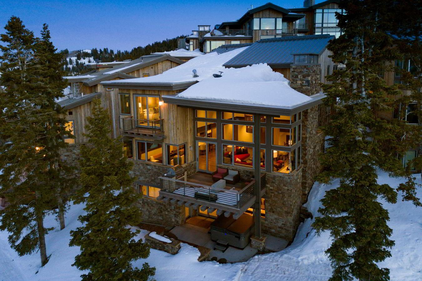Luxury Deer Valley vacation rental exterior view from ski run at Deer Valley Resort